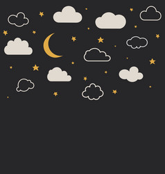 cute baclouds stars moon pattern seamless vector image