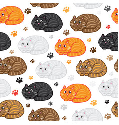 cute cats seamless pattern funny doodle vector image