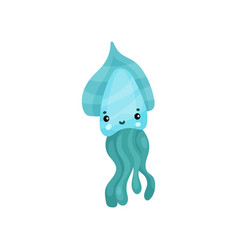 cute turquoise octopus cartoon character funny vector image