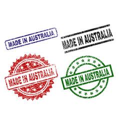 Damaged textured made in australia stamp seals vector