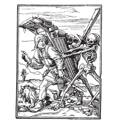 Dance of death the pedlar from hans holbeins vector