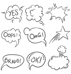 Doodle of text balloon style set vector