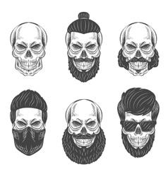 Dotwork skulls vector image