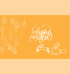 easter frame with easter eggs and bunny hand drawn vector image