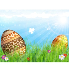 Eggs on meadow with flowers vector image