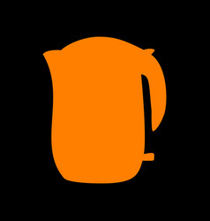 electric kettle sign orange icon on black vector image