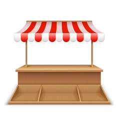 empty market stall wooden kiosk street grocery vector image
