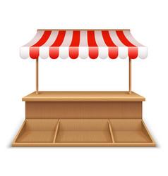 empty market stall wooden kiosk street grocery vector image