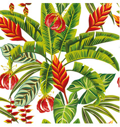 exotic jungle flowers and leaves seamless vector image