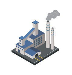 factory with smoke pipes isometric 3d element vector image