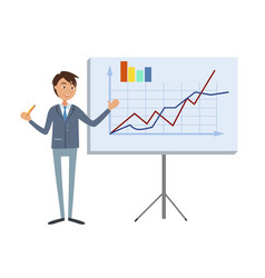 financial analytic making presentation man in suit vector image