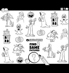 find two same halloween characters task coloring vector image