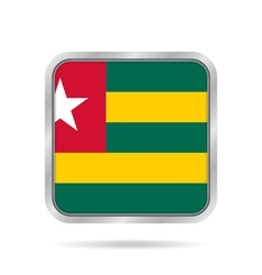 Flag of togo shiny metallic gray square button vector
