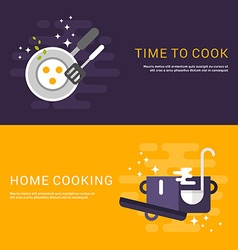 Flat Design Concept for Web Banners Cooking Time vector image