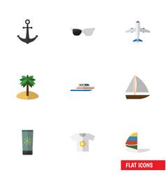 Flat icon beach set of moisturizer surfing vector