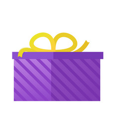 flat purple gift box present with bow icon vector image