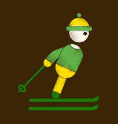 flat shading style icon skier vector image