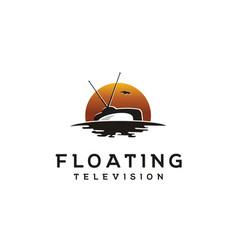 Floating tv on sunset ocean wave film movie logo vector