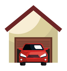 Garage building with car vector