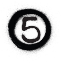 graffiti number five 5 in circle sprayed in black vector image