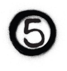 Graffiti number five 5 in circle sprayed in black vector