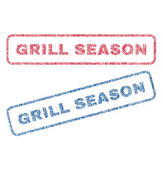 Grill season textile stamps vector