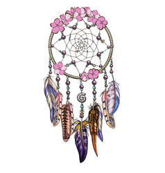 Hand drawn ornate dreamcatcher with pink flowers vector
