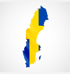 hanging sweden flag in form of map kingdom of vector image