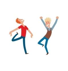 Happy jumping man vector