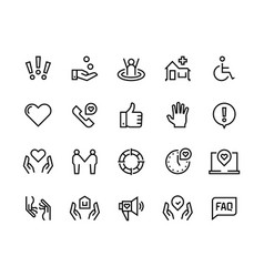 Help line icons support health care manual faq vector