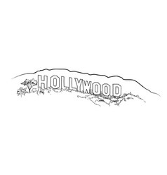 hollywood sign engraving hollywood hill landscape vector image