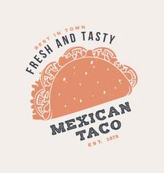 Hot and fresh mexican taco retro badge design vector