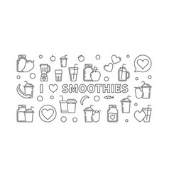 I love smoothies modern outline banner vector