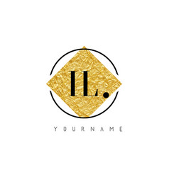 il letter logo with golden foil texture vector image
