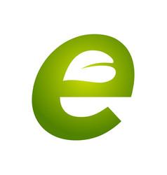 Initial e for leaf logo vector