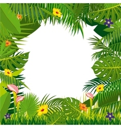 Jungle background with palm tree leaves vector