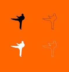 karate man black and white set icon vector image