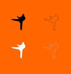 Karate man black and white set icon vector