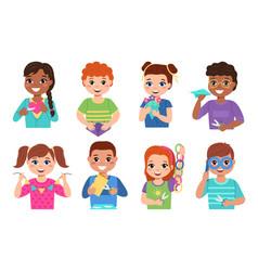 kids paper craft happy creative children cut vector image