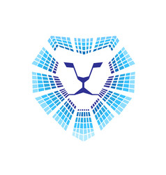 Lion head technology logo vector