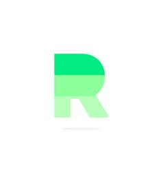 logo letter r green energy battery vector image