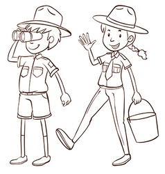 Male and female park rangers vector