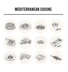 mediterranean cuisine set with food and vector image