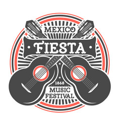 Mexican fiesta vintage isolated label with guitar vector