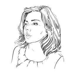 Monochrome hand-drawn image amazed young woman vector
