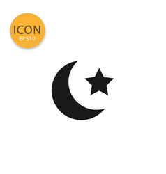 moon and star icon isolated flat style vector image