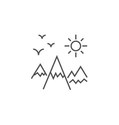 mountains landscape related line icon vector image