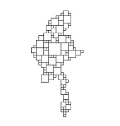 Myanmar map from black pattern from a grid of vector