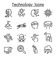 new technology icon set in thin line style vector image