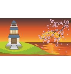 Oriental House and Sakura vector